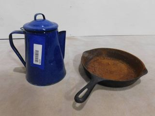 Cast iron skillet   and blue enamel coffee pot