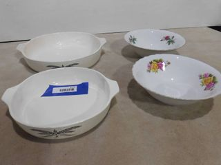 2 Anchor Hocking cookware dishes without lids and 2 Allied design glass bowls