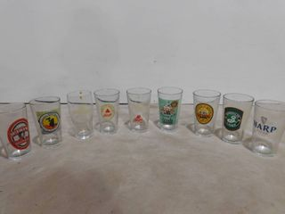 9 Assorted beer glasses