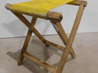 small wooden foldable stool with cloth seat