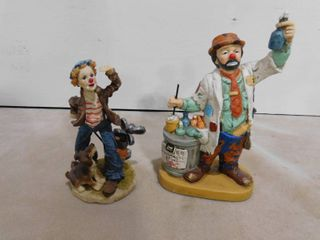 D G C  hobo clown figurine 1988 and boy clown golfing with dog figurine