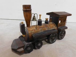 vintage wooden railway engine train with hanging bell