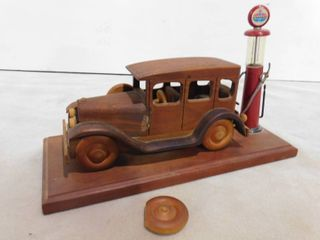 vintage wooden car on base with  standard  gas pump figurine