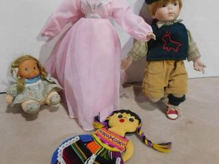 glass doll in flowing pink gown  glass school boy  and 2 dolls