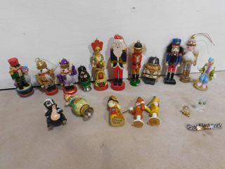 lot of Christmas nutcrackers and other assorted figurines