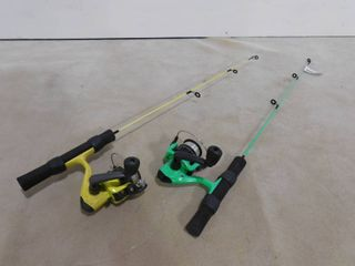 2   ice fishing rod and reels
