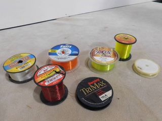 Assorted spools of fishing line