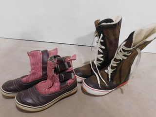 Women s size 8 Sorel snow boots and Women s size 8 Sorel low cut snow boot