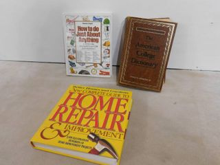 lot of 3 books  American college dictionary  home repair   improvement and how to do just about anything