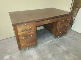 Alma Desk with 5 Drawers 1 File Drawer and 2 Pullout Trays 30 x 52 x 30 in