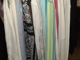 lADIES ClOTHES  long Sleeve Button Up Shirts  Sizes large and Extra large  TAlBOTS  CHICOS  DKNY  and other Brands