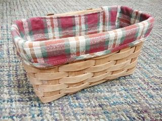 longaberger Basket with Plaid liner 5 x 9 5 x 5 in