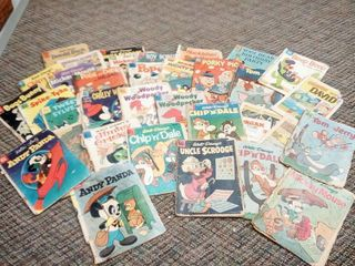 Collectible Vintage Comic Books lot of 34 Dates Range From 1958 to 1962 Titles Include Popeye Mickey Mouse Woody The Woodpecker Donald Duck and Many More Poor to Near Good Condition Some Covers loose or Spines Separared