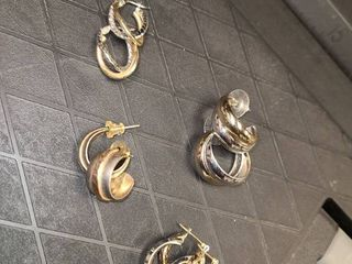 Earrings Two Toned lot of 4 Pair