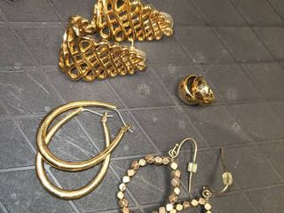 Earrings Gold Toned lot of 4 Pair