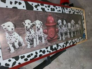 DAlMATIAN Picture  16 5 x 41  Frame needs a little work