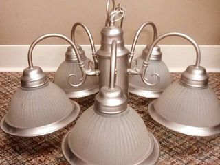 Brushed Nickel and Frosted Glass 5 Bulb light Fixture 15 x 21 x 21 in
