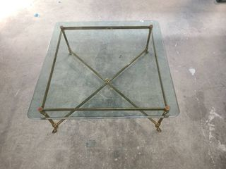 Vintage Brass Coffee Table 16 x 38 x 38 in with Beveled Glass Top  75 in Thick GlASS TOP IS VERY HEAVY