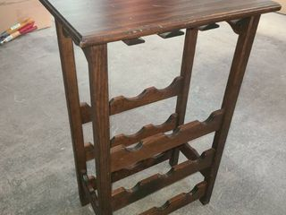 Wood 9 Bottle Wine Stand with Glass Rack 29 x 19 x 11 in