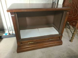 Wood TV Cabinet on Wheels 31 x 35 x 18 in