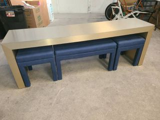 Counter Style Table 25 5 x 72 x 16 in with Blue Upholstered Bench 18 x 32 x 16 in and 2 Smaller Blue Upholstered Bench Seats 18 x 16 x 16 in Each