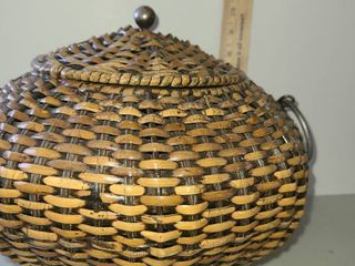 Wicker Basket on Metal Stand