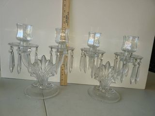 2 CANDlEABRAS  Glass
