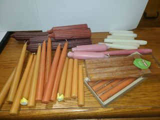 lot of ORANGE  PINK and WHITE TAPERED CANDlES