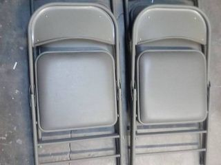 Costco Tan Metal and Cushion Folding Chairs Set of 4