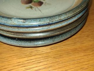 4 HAND PAINTED  STONE PlATES