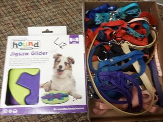 Puzzle Treat Dispenser with Small Dog Collars and leashes