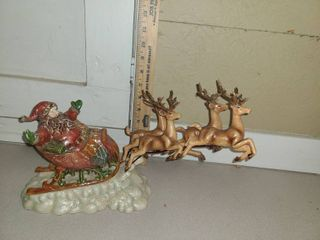 CHRISTMAS DECOR  Santa pulling his Sleigh with Reindeer
