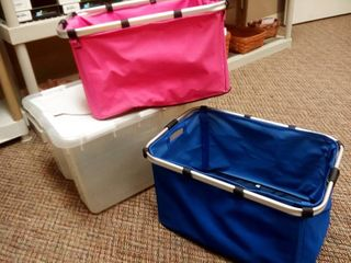 Sterilite 48 QT Storage Tote with Pink and Blue Baskets