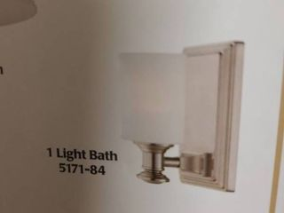 Harbour Point Brushed Nickel with Etched Opal Glass Bath light Sconce 8 x 4 75 x 6 in New In Box