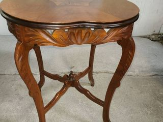 Vintage Handcarved Wood Side Table 27 x 22 x 22 in