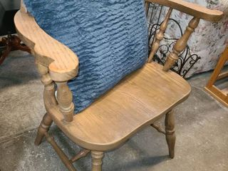 Wood Pub Style Barrel Chair with Blue Pillow