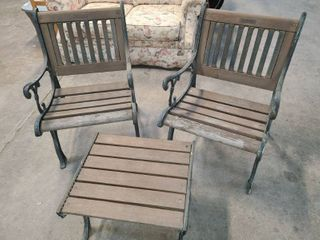 Berkley Gorge Wrought Iron and Wood Patio Chairs 34 x 22 x 26 in Each with Matching End Table 15 x 21 x 18 in