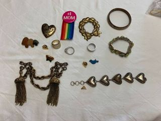 ladies jewelry ladies jewelry 3 bracelets  one sweater holder  eight pens  one mom pen and three size 9 rings