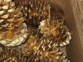 lOT of PINECONES  Gold colored