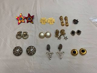 ladies jewelry 10 pair of clipped earrings and one ring