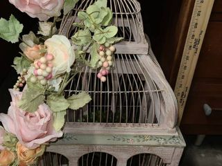 PINK  BIRD CAGE  with FAUX FlOWERS