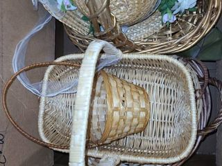 lARGE BOX OF WICKER BASKETS and a HAT