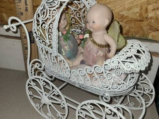 2 Miniature Baby Angels in White Buggy