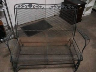 Wrought Iron Patio Bench Glider