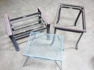Coleman Metal Side Table and Stool with Wrought Iron Side Table None of the Items Have Glass Tops or Cushion