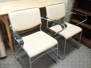 Stainless Steel Tan lobby Chairs Set of 2