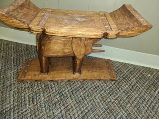 Small HAND CARVED Wooden Table  14  x 21 5  x 9 5
