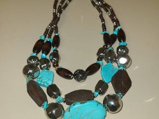 Triple layered Brown and Turquoise Colored Beaded Necklace
