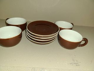 4 CUPS and SAUCERS  Brown
