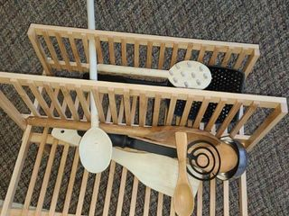 WOODEN DISH DRYING RACK and some Miscellaneous Utensils and A  Eat in Bed   Tray
